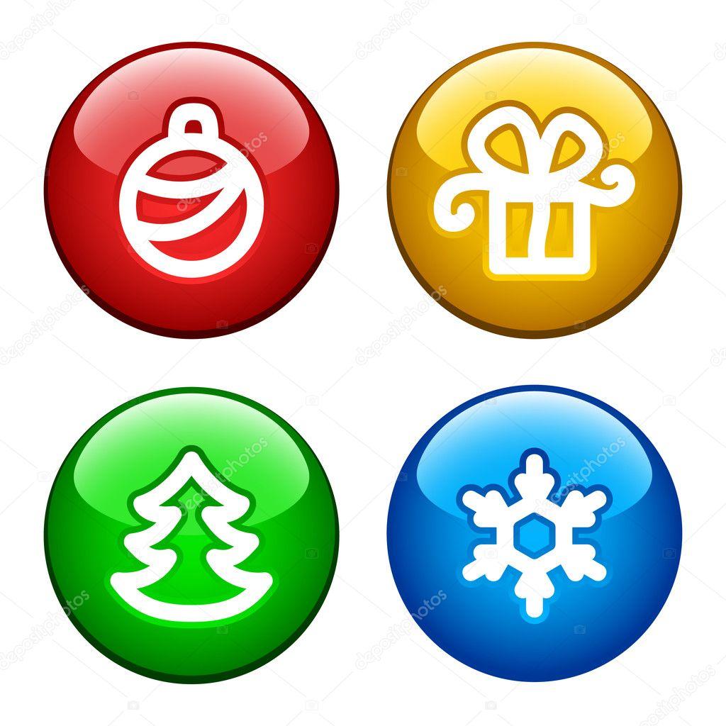 环按钮为圣诞的 — 图库矢量图片