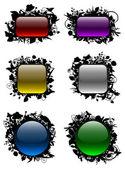 Cam gibi düğmeleri floral çerçeveler — Stok Vektör