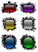 Glassy buttons in floral frames — Stock Vector