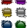 Glassy buttons in floral frames (set 1) - Stock Vector
