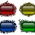 bottoni vitrei in cornici floreali 2 — Vettoriale Stock
