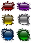 Glassy buttons in floral frames (set 1) — Stock Vector