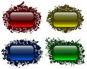 Floral çerçeveler 2 cam gibi düğmeleri — Stok Vektör
