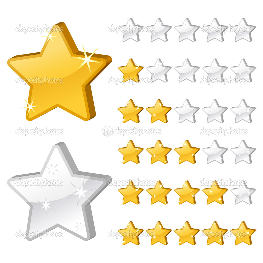 Rating stars for web. 3d vector illustration — Stock Vector #4649807