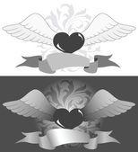 Corazón con alas — Vector de stock