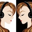 Stock Vector: Girl listens to music