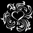 Ornate heart 1 (on black) — Imagen vectorial