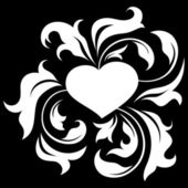 Ornate heart 2 (on black) — Vector de stock