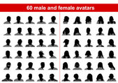 60 avatars masculins et féminins — Vecteur