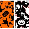 Stok Vektör: Halloween seamless patterns.