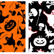 Vector de stock : Halloween seamless patterns.