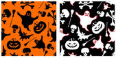 Halloween seamless patterns. — Stock Vector