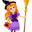 Girl witch. — Stock Vector