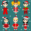 Stock Vector: Set of christmas children.