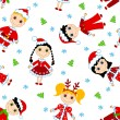 Seamless christmas children pattern. - Stock Vector