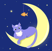 The cat lies on a half moon. — Stock Vector