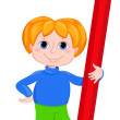 The boy and red.pencil. — Stock Vector