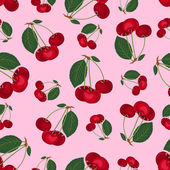 Seamless cherry pattern. — Stock Vector