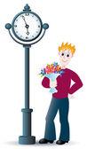 El niño con un ramo de flores. — Vector de stock