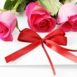 Invitation card and roses — Stockfoto