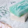Towel and soap — Stock Photo