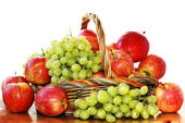 Red apples and grapes — Stock Photo