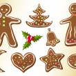 Gingerbread cookies. — Stock Vector