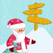 Santa bears a bag of gifts. — Stock Vector