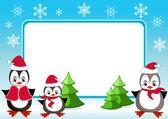 Baby-pinguine. weihnachten-frame. — Stockvektor