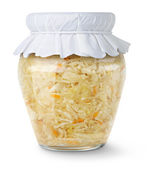 Marinated cabbage (sauerkraut) in glass jar — Stock Photo