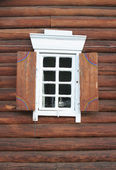 Window in a wooden house — Stock Photo