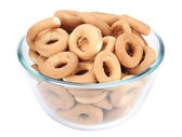 Bagels in a glass dish — Stock Photo
