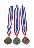 Award Ribbons of Gold Silver and Bronze — Stock Photo