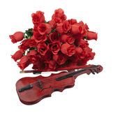 Classical Red Roses and Violin — Stock Photo