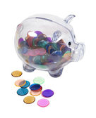 Piggy Bank Full of Colorful Chips — Stock Photo