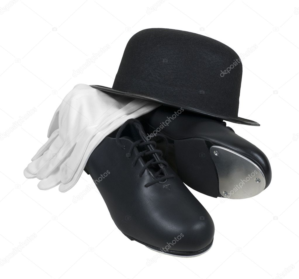 Antique retro style bowler hat with tap shoes and white gloves — Stock Photo #5113642