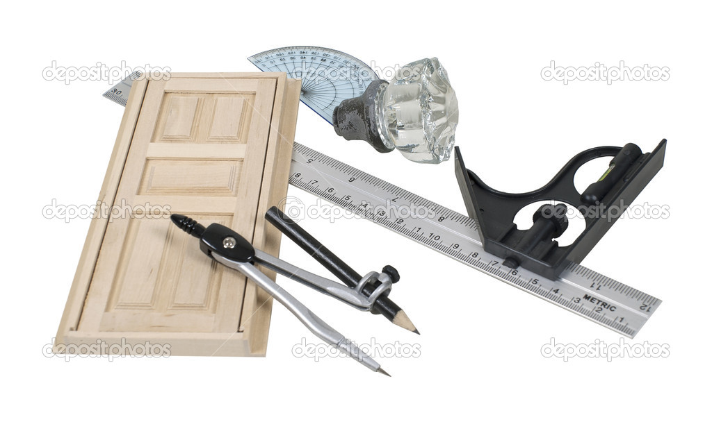 Compass and rulers for drawing out and planning renovations - path included — Stock Photo #5113654
