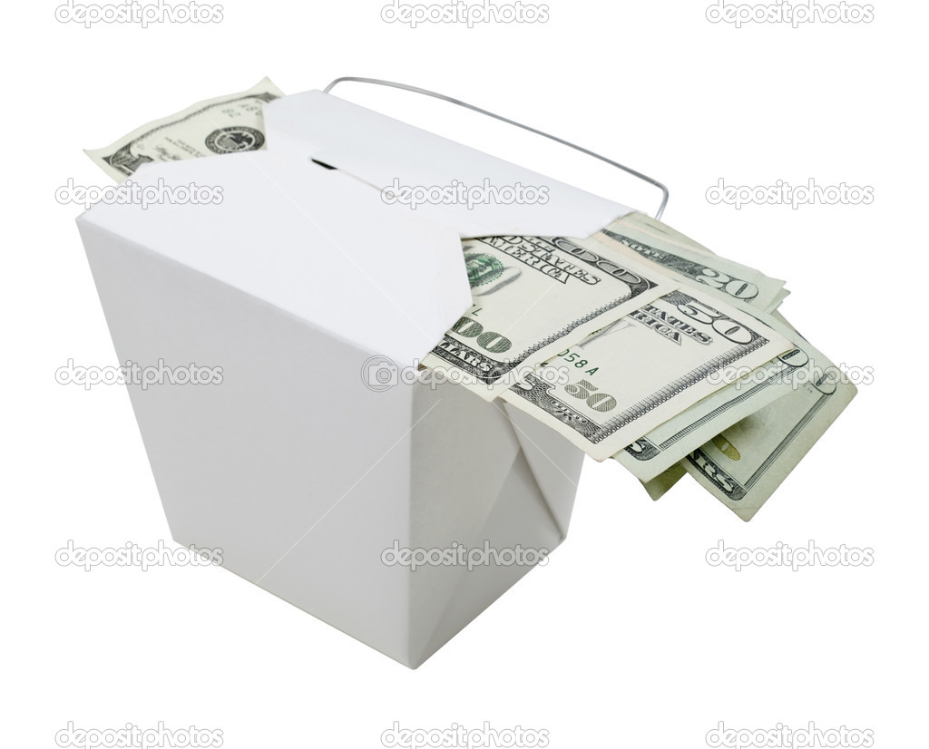 Money in the form of many large bills left as a tip in a take out box - path included — Stock Photo #5113660