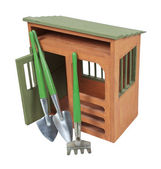 Garden Shed with Tools — Stock Photo