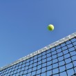 Yellow Tennis Ball Flying Over the Net — Stock Photo #5227783