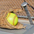 Yellow Softball, Bat, and Glove — Stock Photo