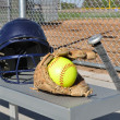 Yellow Softball, Helmet, Bat, and Glove — Stock Photo