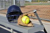 Yellow Softball, Helmet, Bat, and Glove — Stock Photo