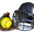Helmet, Yellow Softball, and Glove - Stock Photo