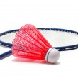 Red Badminton Shuttlecock (Birdie) and Racket — Stock Photo