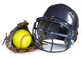Helmet, Yellow Softball, and Glove — Stock Photo