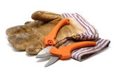 Pruning Shears and Leather Gloves — Stock Photo