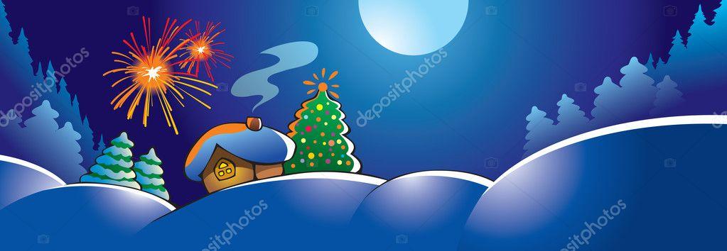 冬季风景与小冰皮月饼房子,假期烟花装饰杉木树,矢量图— photo by en