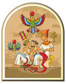 Egyptian pharaoh and his wife — Stock Photo