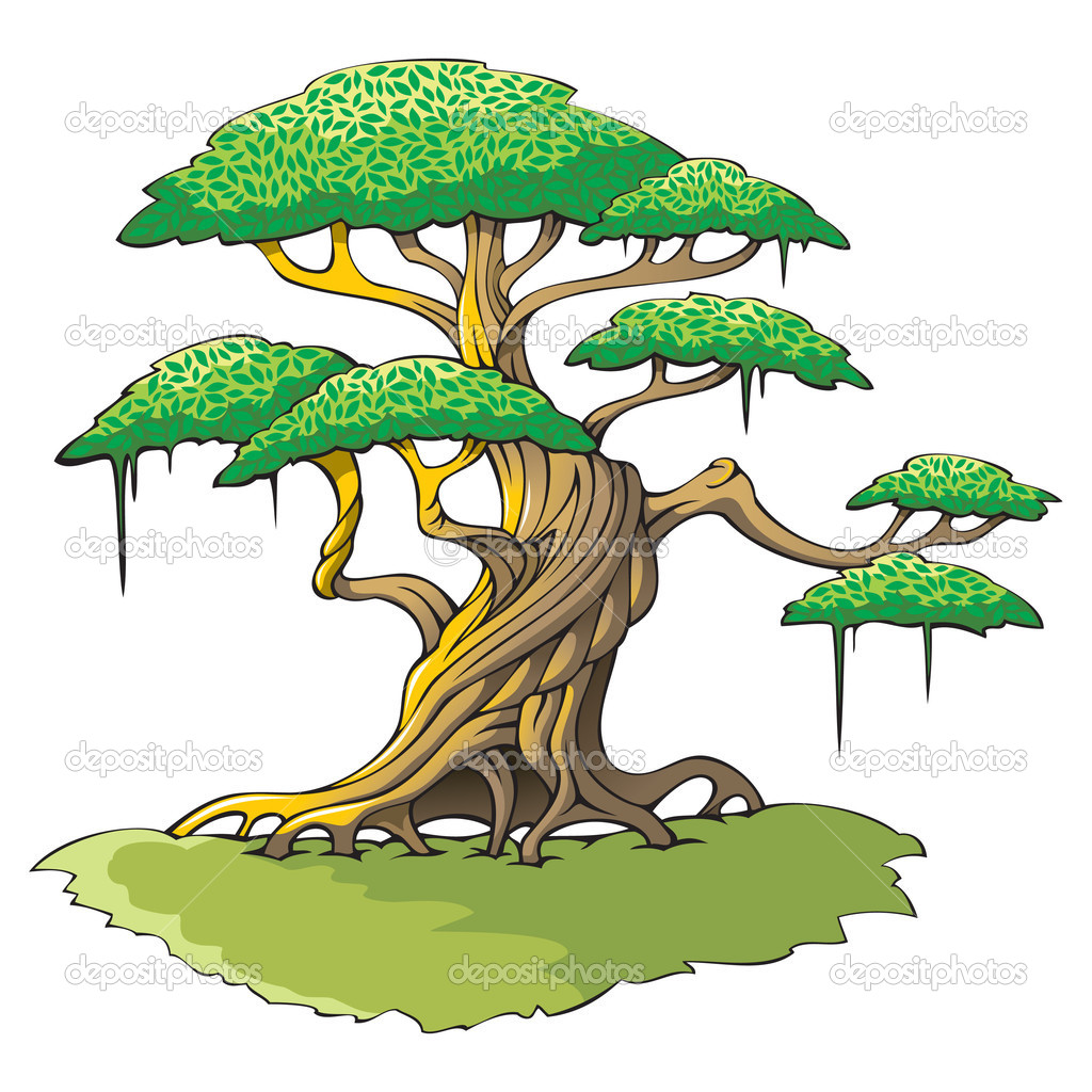 Crooked tree with plenty of leaves, vector illustration  Stock Photo #4461091
